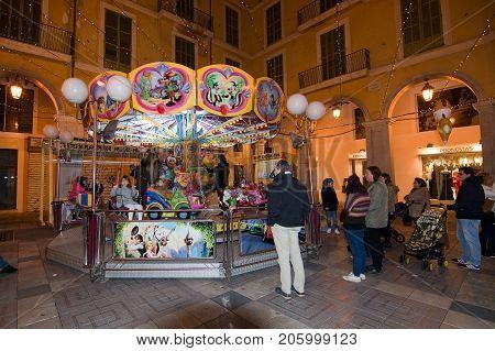 Vendor Booths And Festive Lights