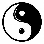 Yin yang symbol taoism icon . Simple illustration of yin yang symbol taoism vector icon for web design isolated on white background poster