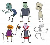Vector Set of Halloween characters. Zombie, skeleton, mummy, Jack-o'-lantern, Dracula and other scary monsters. Illustration, isolated on white background. poster