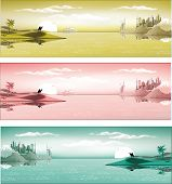 Arab metropolis on the coast in three colors. Landscape, panorama. Sand dunes, caravan of camels. A cruise liner in the Bay of Dubai. Vector illustration poster