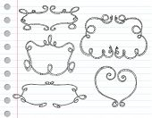 Vector hand drawn ornamental frames on a note paper poster