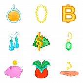 Rich surroundings icons set. Cartoon set of 9 rich surroundings vector icons for web isolated on white background poster
