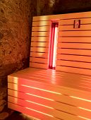 The infrared sauna to improve the health and beauty poster
