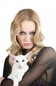 beauty young blond woman with oriental shorthair cat on a white poster