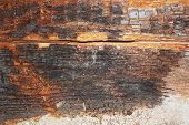 dry rot on old wood beam after water infiltration in building ( Serpula lacrimans ) poster