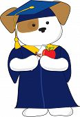 A cute puppy is dessin in a cap and gown for graduation. Holding a diploma and an apple poster