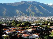CITY OF CARACAS VENEZUELA, VALLEY VIEW, AVILA MOUNTAIN, SPANISH STYLE HOUSES poster
