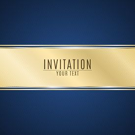 Luxurious invitation. Golden ribbon banner on a blue background with a pattern of oblique lines. Realistic gold strip with an inscription. VIP invitation. Vector illustration