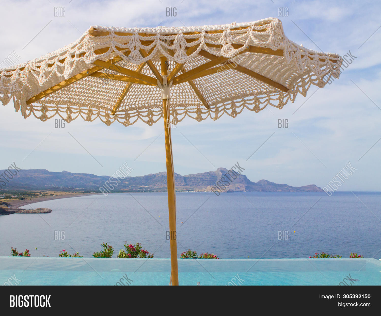 Wooden Beach Umbrella Image Photo