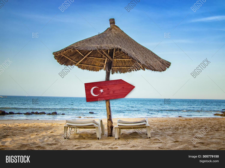 Turkish Flag On Wooden Image Photo