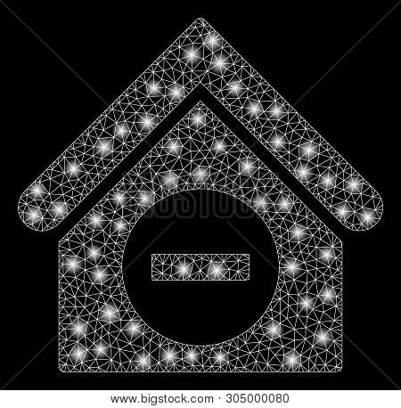 Bright Mesh Deduct Building With Glare Effect. Abstract Illuminated Model Of Deduct Building Icon. S