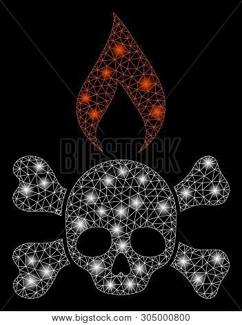 Bright Mesh Death Ignition With Glare Effect. Abstract Illuminated Model Of Death Ignition Icon. Shi
