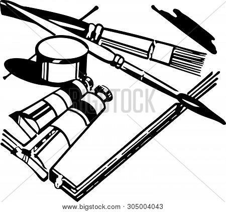 Artists Equipment - Retro Clip Art Illustration For Art