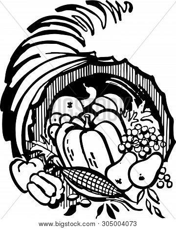Cornucopia - Retro Clip Art Illustration For The Harvest