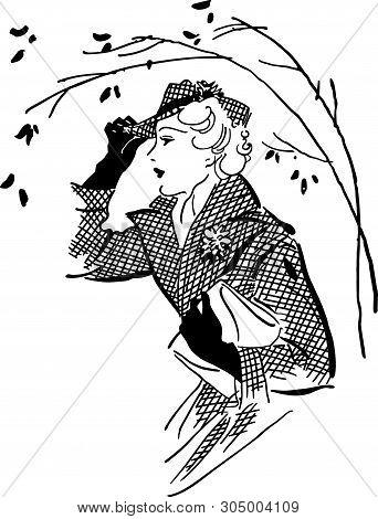 Fashionable Gal - Retro Clip Art Illustration For Fashion