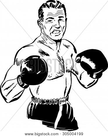 Professional Boxer - Retro Clip Art Illustration For Sports