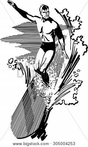 Surfer - Retro Clip Art Illustration For Water Sports