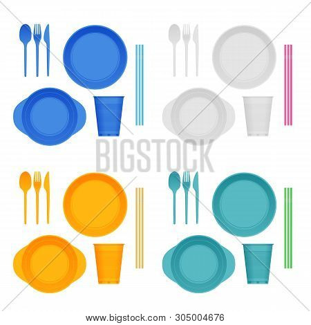 Bright Plastic Tableware And Napkins Isolated On White. Plastic Dishes, Plastic Plate, Fork, Spoon,