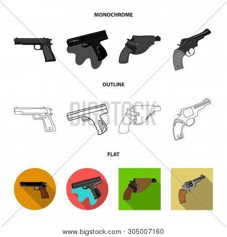 Vector illustration of revolver and pistol sign. Collection of revolver and trigger stock vector illustration. poster