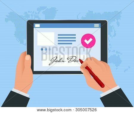 Digital Signature Concept With Tablet And Pen. Businessman Hands Signing Digital Signature On Tablet