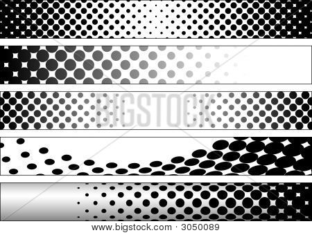 Halftone Black And White Web Banners
