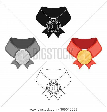 The Gold Award.medal Of Medalist.awards And Trophies Single Icon In Cartoon, Black Style Vector Symb