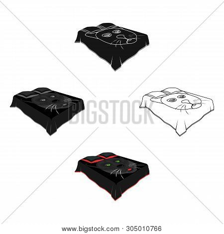 A Bed With A Black Coverlet.bed With A Black Cat On The Blanket.bed Single Icon In Cartoon, Black St