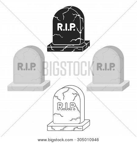 Headstone Icon In Cartoon, Black Style Isolated On White Background. Black And White Magic Symbol St
