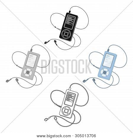 Mp3 Player For Listening To Music During A Workout.gym And Workout Single Icon In Cartoon, Black Sty