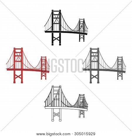 Golden Gate Bridge Icon In Cartoon, Black Style Isolated On White Background. Usa Country Symbol Sto