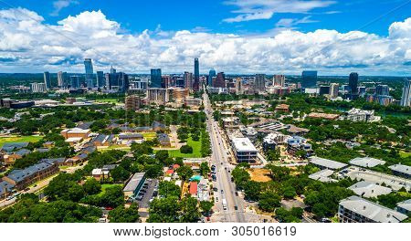 Summer Time In Central Texas , Aerial Drone View High Above Austin Texas Usa 2019 View Down South Co