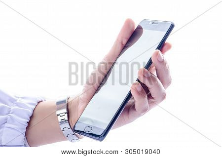 Women Hand Holding Black Smartphone Isolated On White   Screen  Background View With Clean Clipping