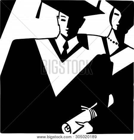 Art Deco Grads - Retro Clip Art Illustration