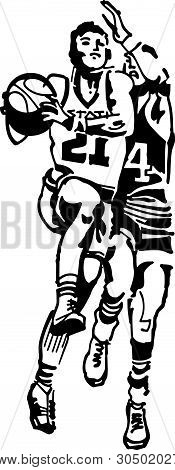 Basketball Players - Retro Clip Art Illustration For Sports