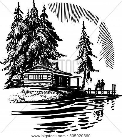 Beautiful Cabin By A Lake - Retro Clip Art Illustration
