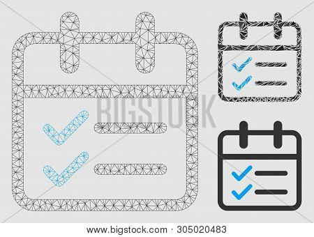 Mesh Day Tasks Model With Triangle Mosaic Icon. Wire Frame Polygonal Mesh Of Day Tasks. Vector Mosai