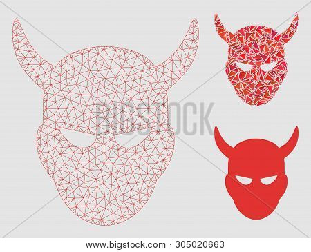 Mesh Daemon Head Model With Triangle Mosaic Icon. Wire Carcass Triangular Network Of Daemon Head. Ve
