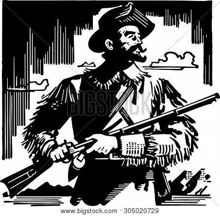 Frontiersman - Retro Clip Art Illustration Of Early Settlers