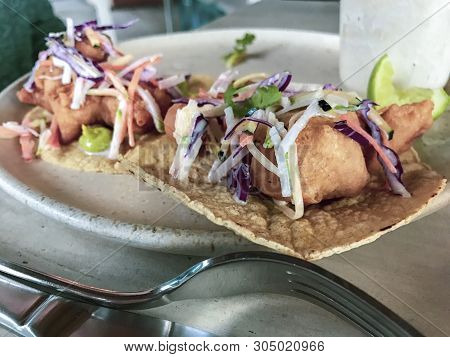 Fresh Fried Fish Tacos On A Plate In Tulum, Quintana Roo, Mexico