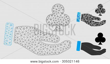 Mesh Croupier Hand Model With Triangle Mosaic Icon. Wire Frame Polygonal Mesh Of Croupier Hand. Vect