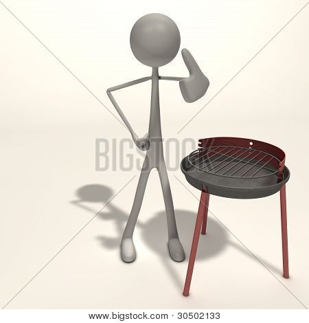 Figure Stands Next To A Grill