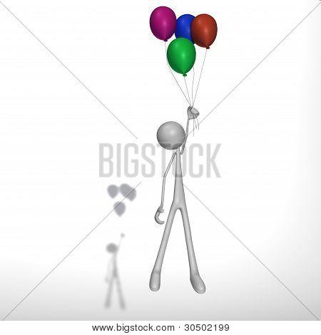 Figure Flies With Balloons