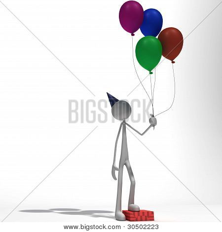 Figure Standing With Ballons