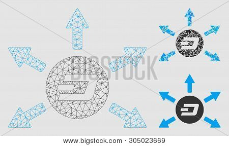 Mesh Dash Coin Payout Arrows Model With Triangle Mosaic Icon. Wire Carcass Polygonal Mesh Of Dash Co