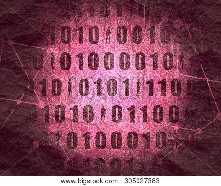 Binary Code Background With Silhouettes Of Women. Algorithm Binary, Data Code, Decryption And Encodi