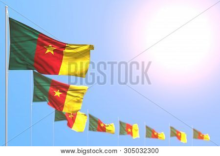 Wonderful Many Cameroon Flags Placed Diagonal With Bokeh And Empty Place For Text - Any Celebration