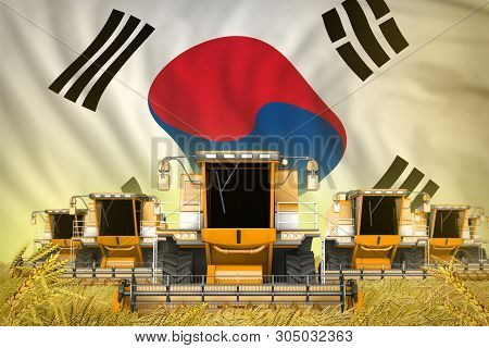 industrial 3D illustration of some yellow farming combine harvesters on grain field with Republic of Korea (South Korea) flag background - front view, stop starving concept poster