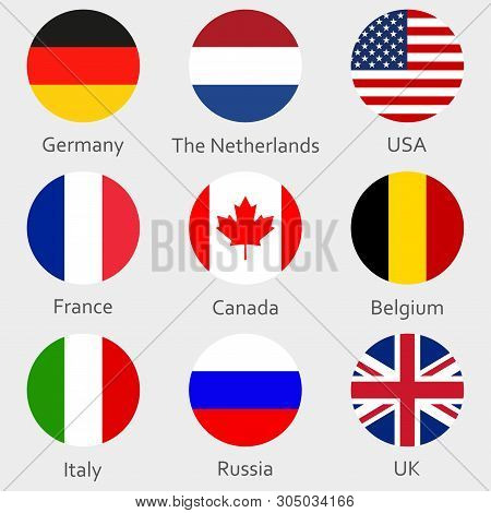 Circle Flags Icon Or Badges Set. Round National Symbol Of Usa, Uk, Holland, The Netherlands, Germany