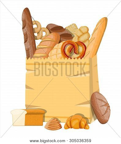 Bread Icons And Paper Shopping Bag. Whole Grain, Wheat And Rye Bread, Toast, Pretzel, Ciabatta, Croi