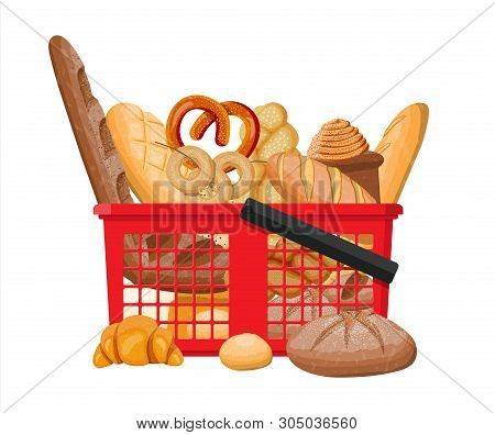 Bread Icons And Shopping Basket. Whole Grain, Wheat And Rye Bread, Toast, Pretzel, Ciabatta, Croissa